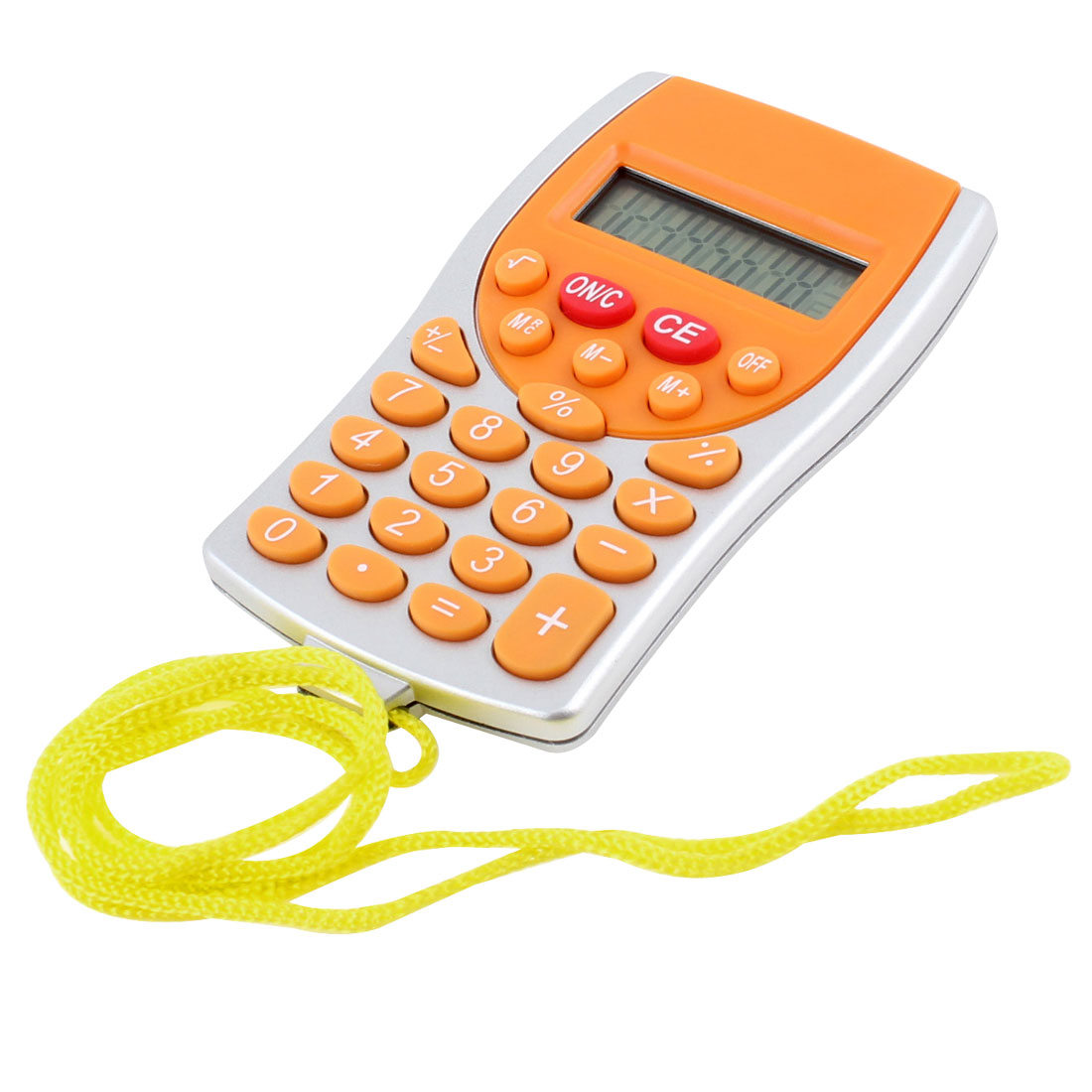 Portable Silver Tone Orange Plastic Mini Calculator w Strap