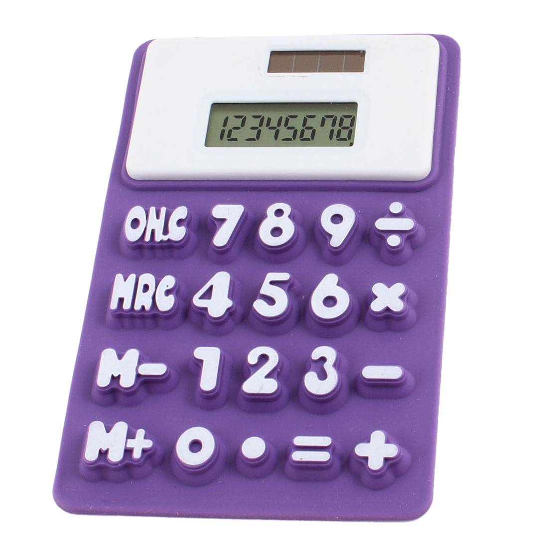 Portable Magnetic Fridge Sticker Silicone Calculator White Purple