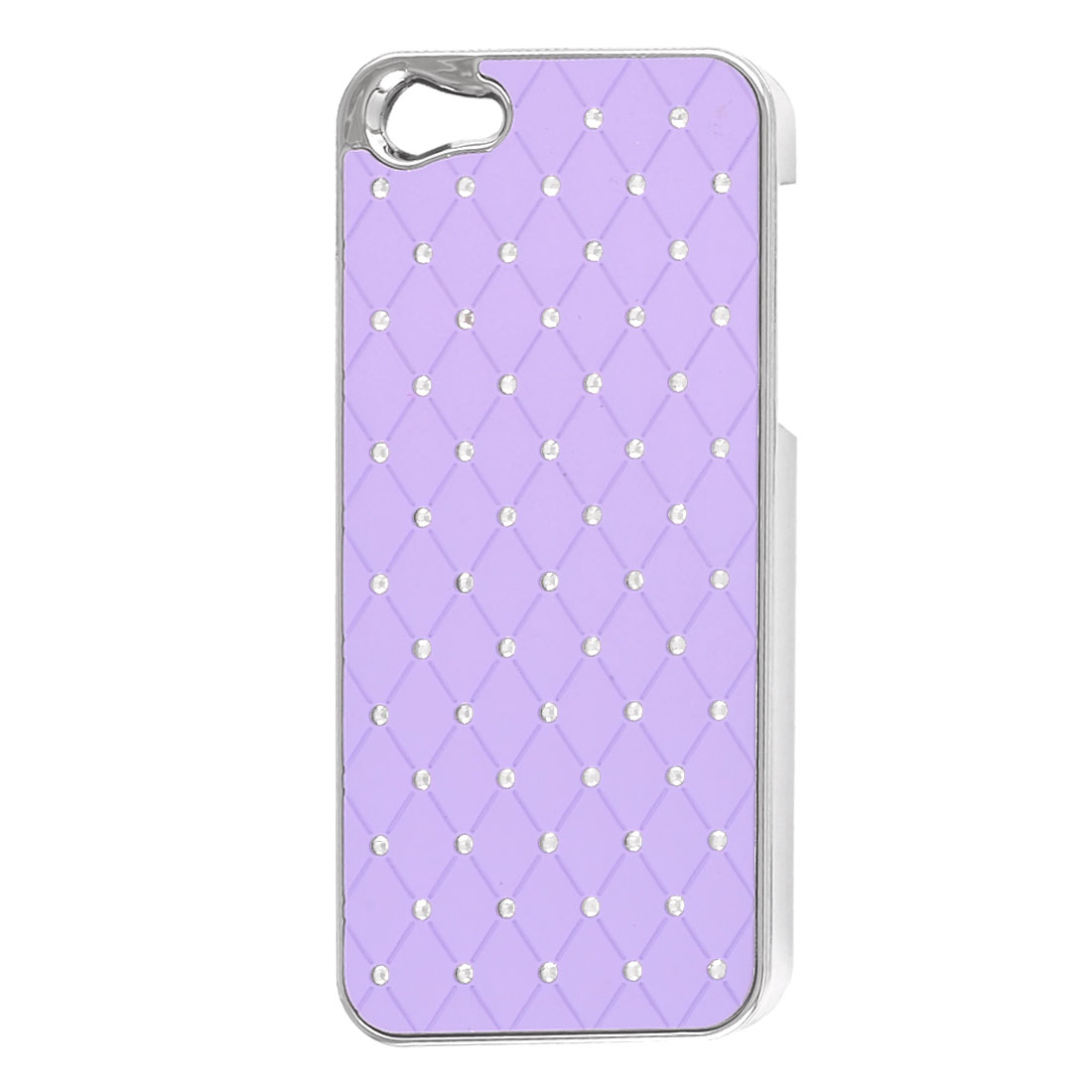 Light Purple Faux Leather Coated Rhinestone Hard Back Case Cover for iPhone 5 5G