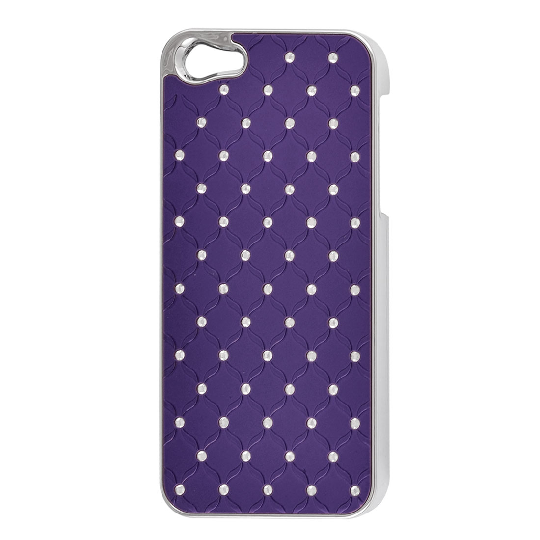 Dark Purple Faux Leather Coated Rhinestone Hard Back Case Cover for iPhone 5 5G