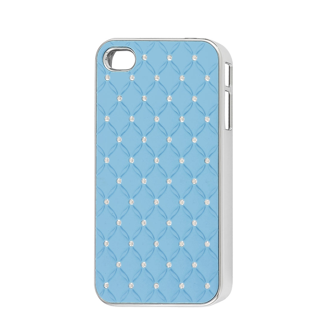 Light Blue Faux Leather Coated Rhinestone Hard Back Case for iPhone 4 4G