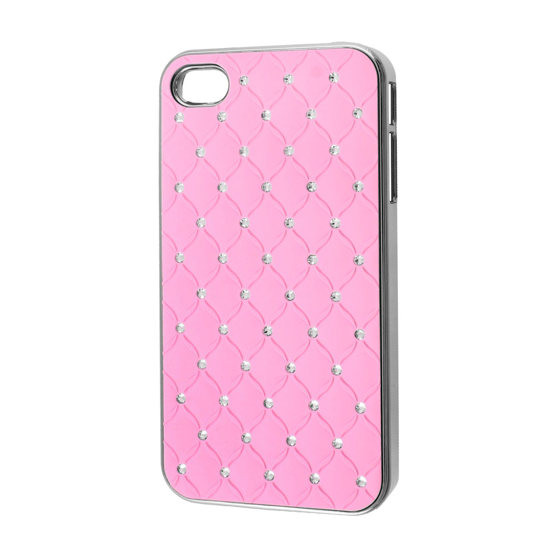 Pink Faux Leather Coated Rhinestone Hard Back Case Cover for iPhone 4 4G