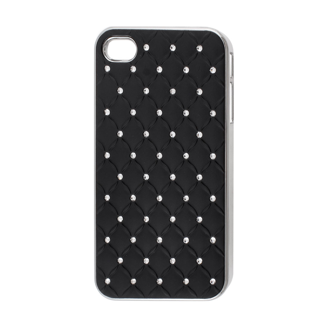Black Faux Leather Coated Rhinestone Hard Back Case Cover for iPhone 4 4G