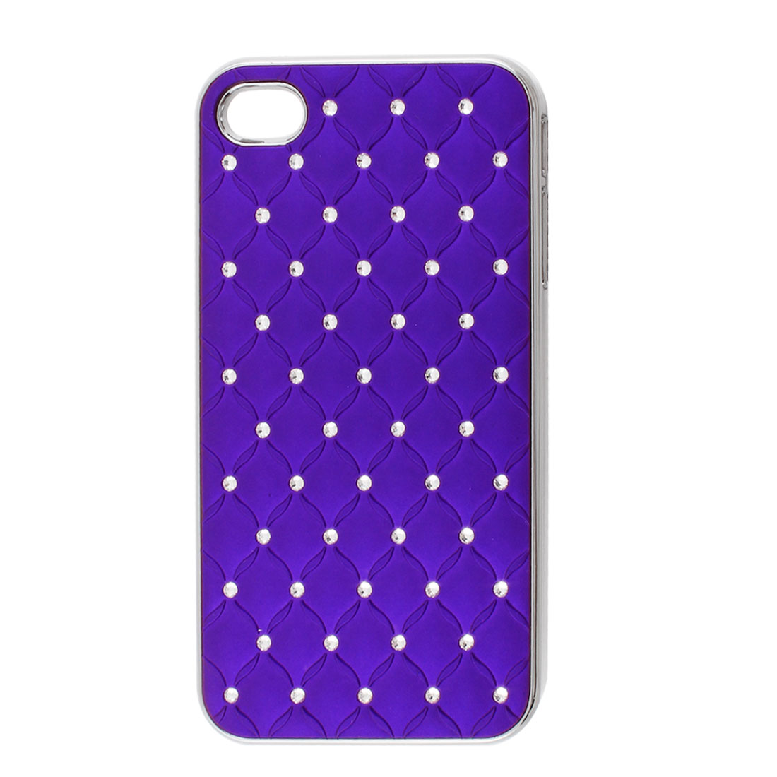Purple Faux Leather Coated Rhinestone Hard Back Case Cover for iPhone 4 4G