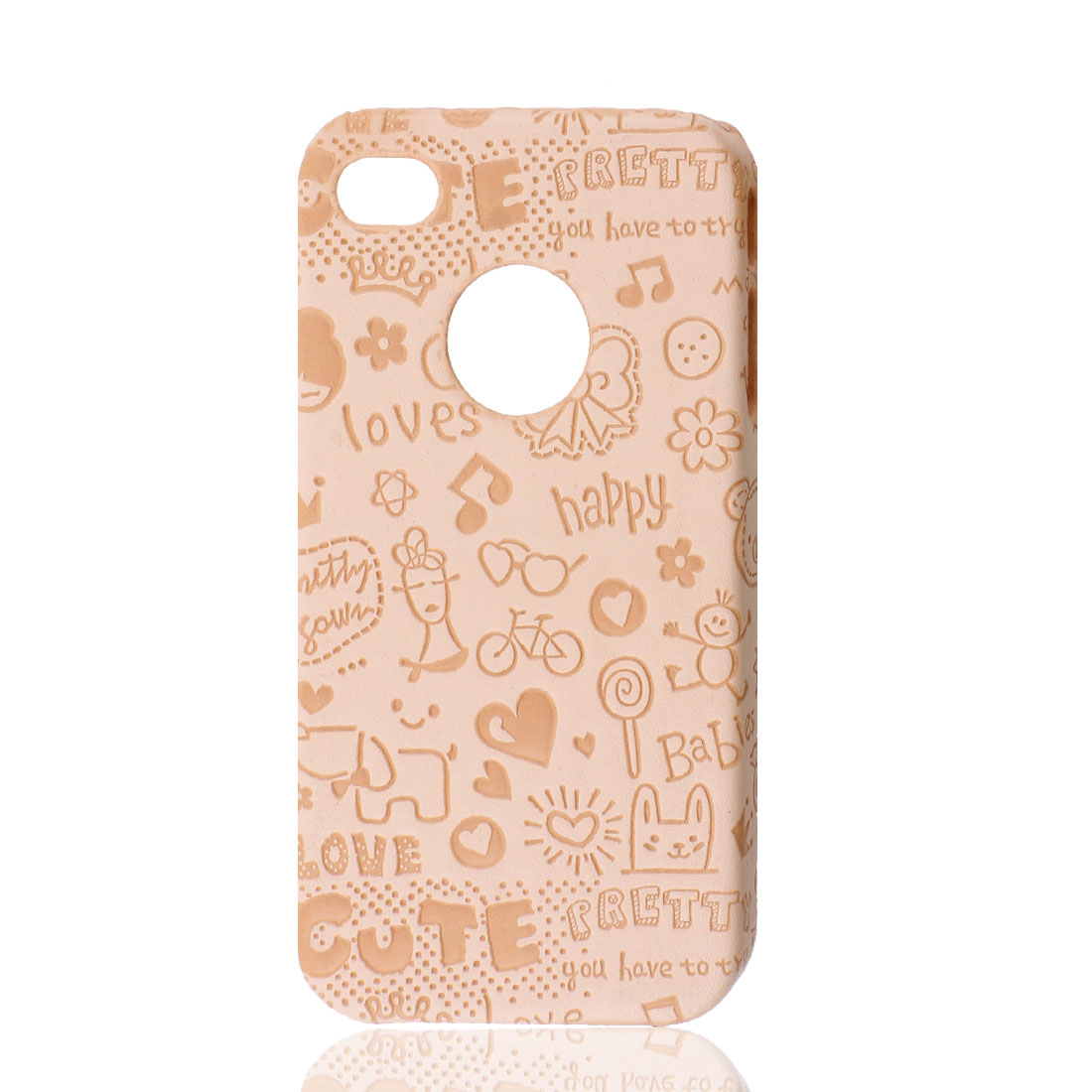 Apricot Cartoon Pattern Faux Leather Coated Hard Back Case Cover for iPhone 4 4G