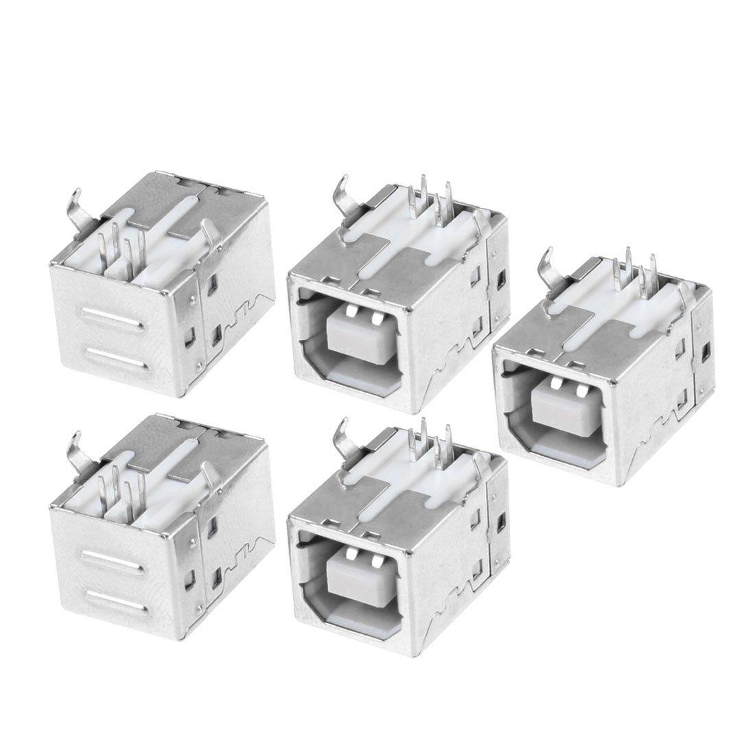 5 Pcs Port 90 Degree 4 Plug USB 2.0 Type B Female Socket