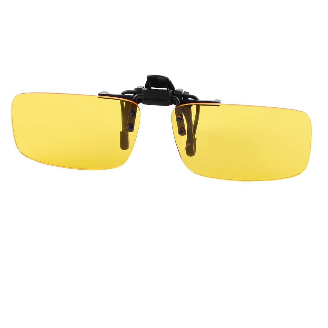 Rectangle Clear Yellow Lens Rimless Clip On Night Vision Driving Glasses