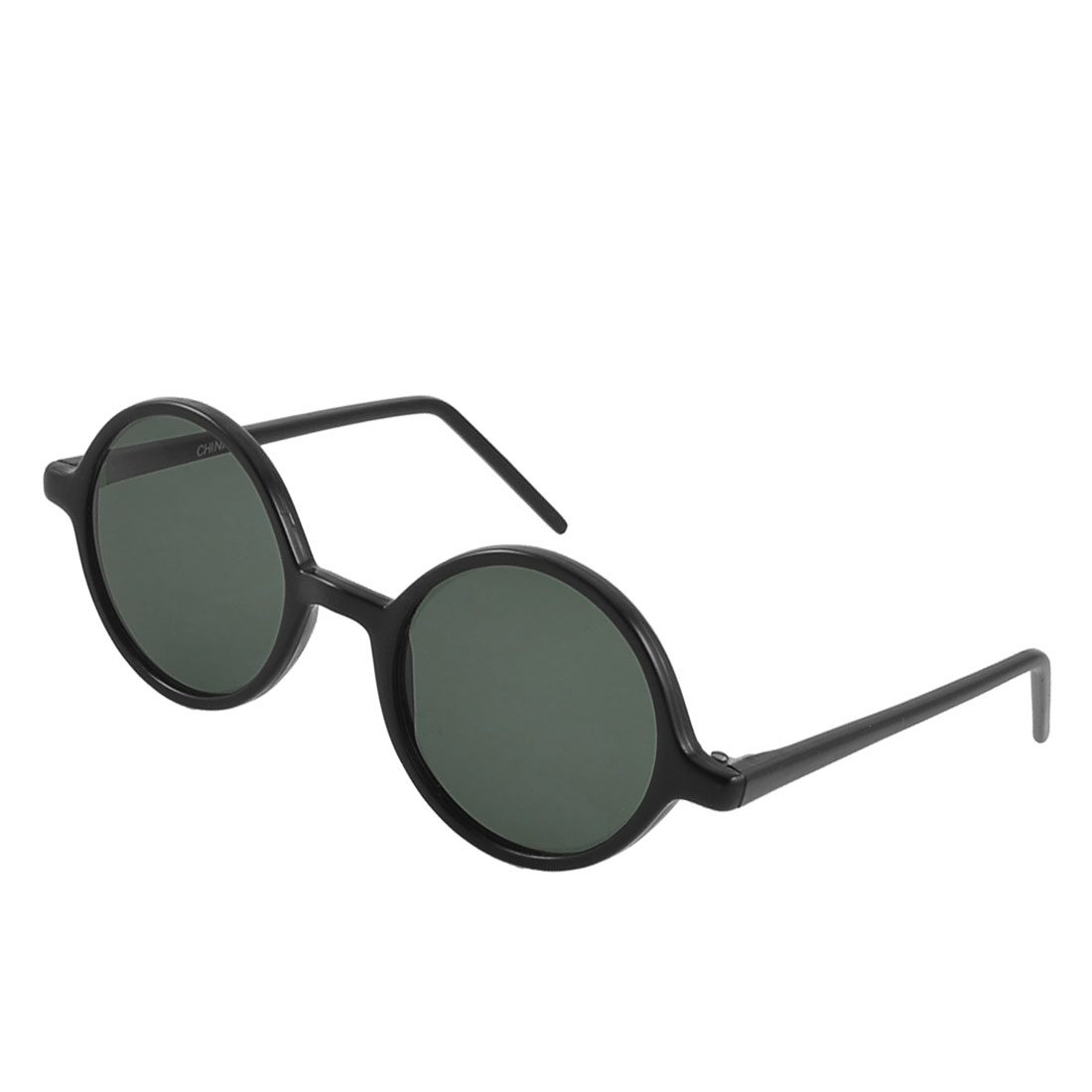 Retro Style Black Plastic Slim Arms Full Frame Round Lens Sunglasses for Men