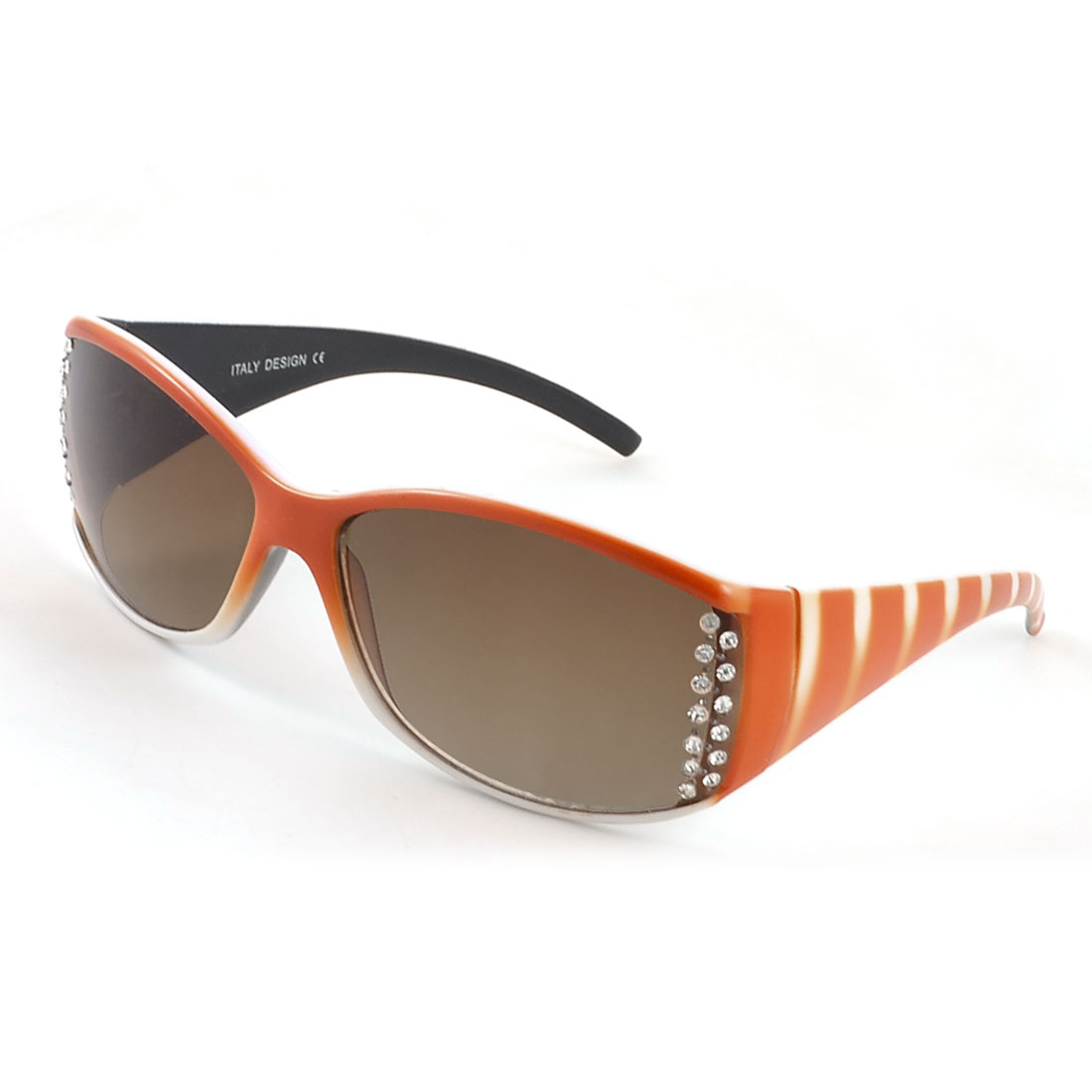 Ladies Orange White Stripes Plastic Full Frame Rhinestone Detailed Sunglasses