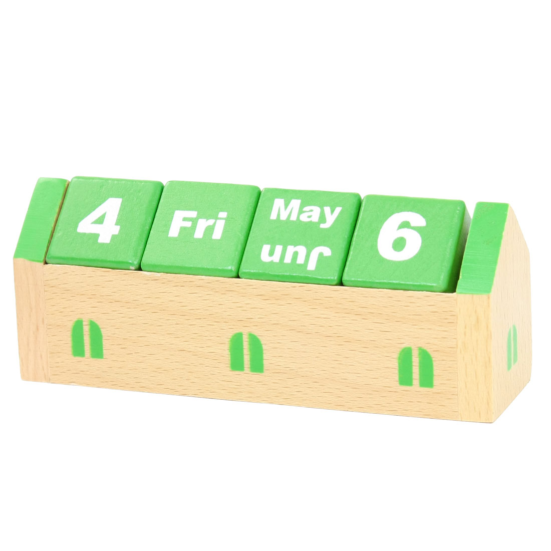 Kids House Shaped Creative Wood Desktop Calendar Toy Bricks Green