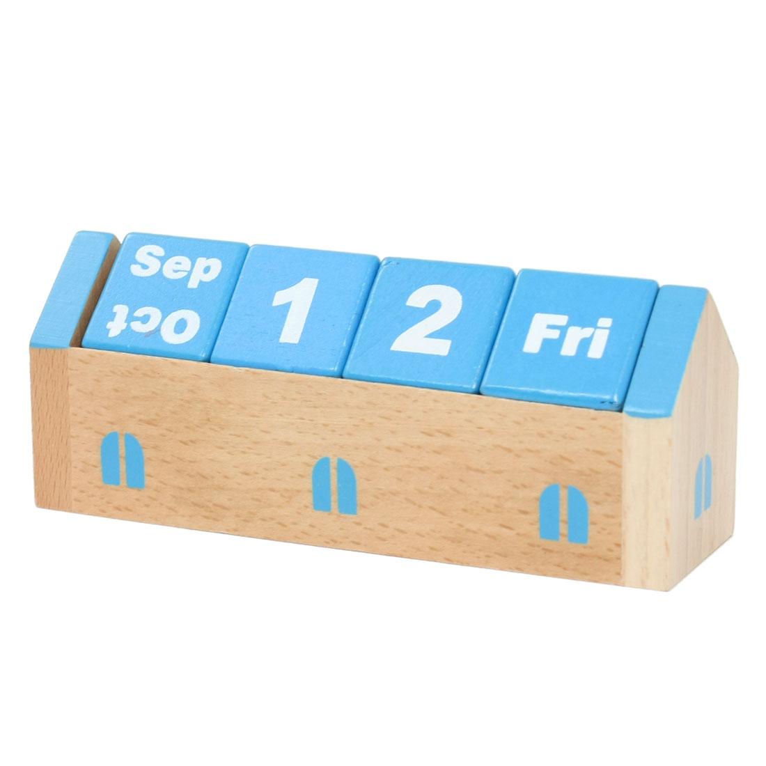Home Family 3D DIY Perpetual Wood Desktop Calendar Teal Blue for Kids