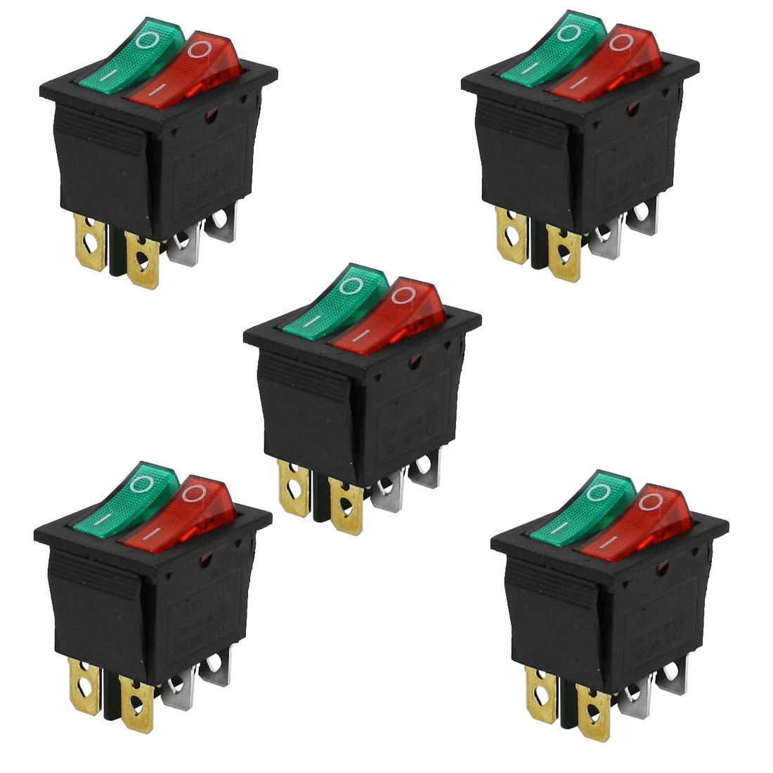 5 Pcs Double Red Green Light Lamp 6 Pins SPST ON/OFF Snap in Boat Rocker Switch