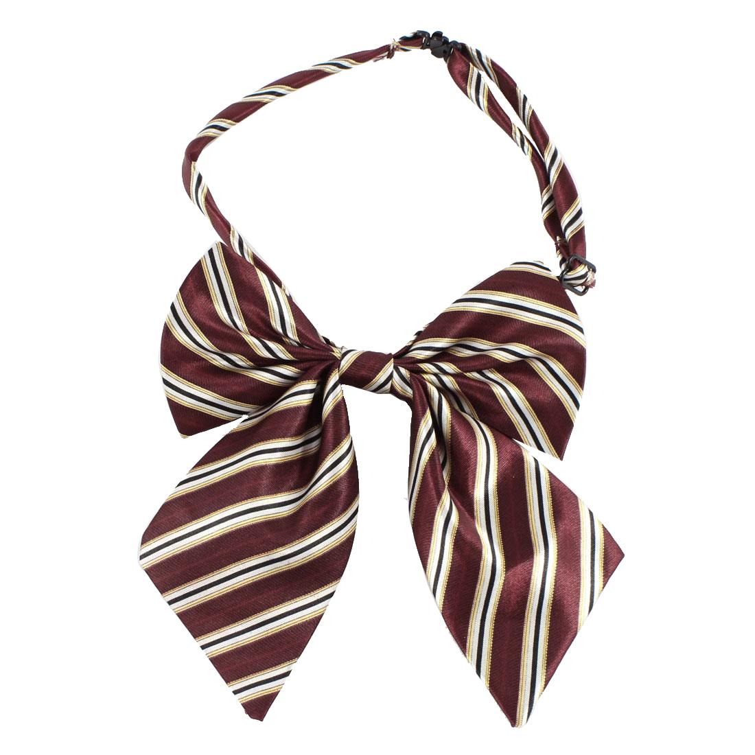 Women Girls Stripe Bowknot Decor Adjustable Bow Tie Clip Necktie