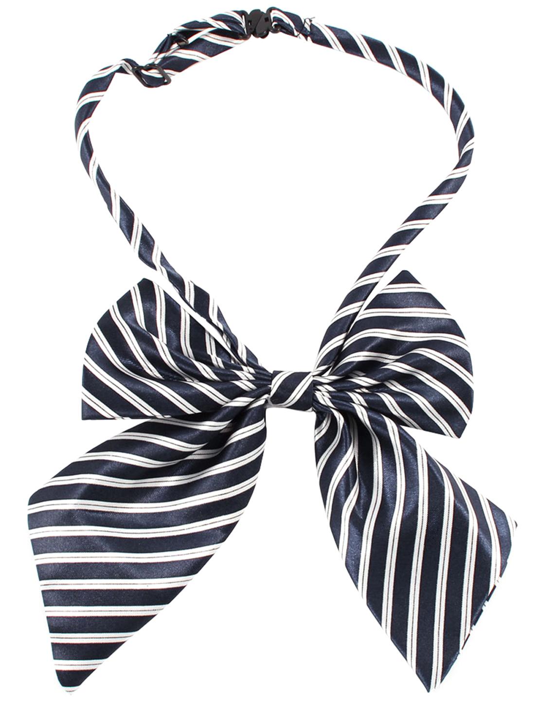 Dark Blue White Stripe Decor Bowknot Bow Tie Collar w Adjustable Strap for Ladies