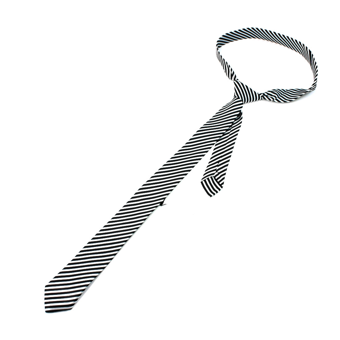 Black White Polyester Stripes Pattern Neck Tie for Men