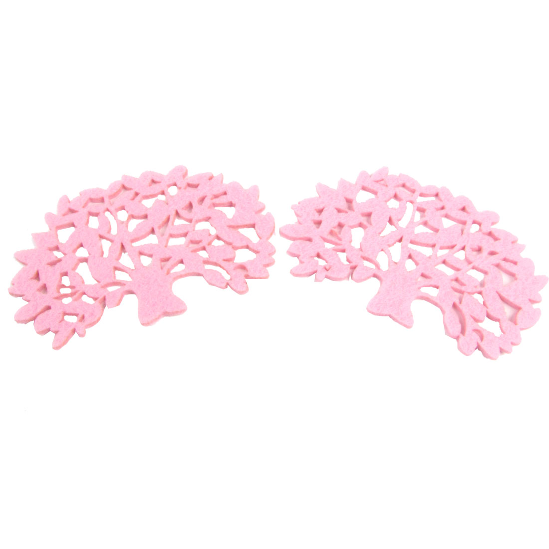 "2 Pcs 4.7"" Long Pink Trees Shape Heat Insulation Pad Cup Mat"