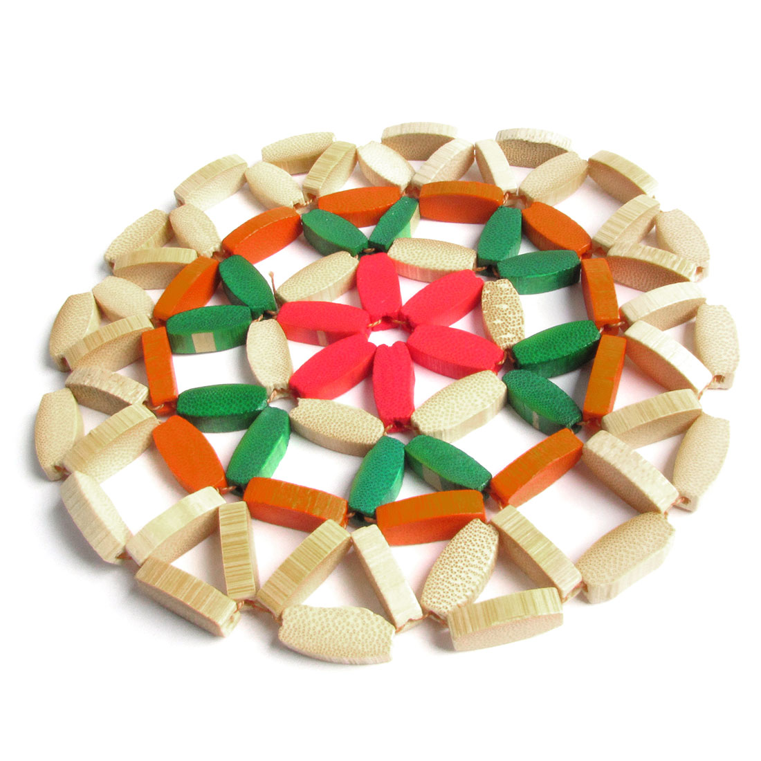 Round Bamboo Pot Holder Dish Pad Cup Mat Coaster Colorful