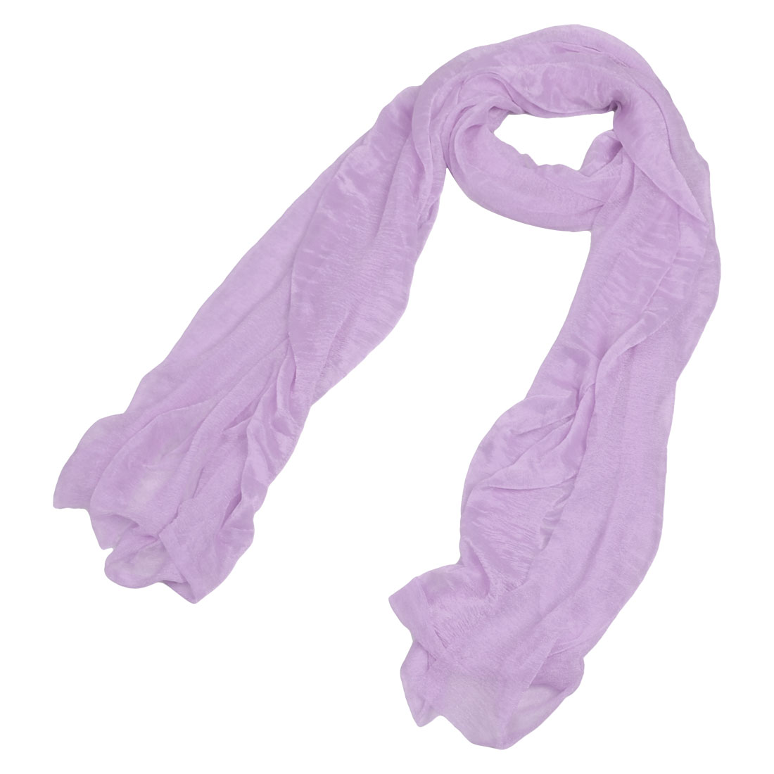 "Women 61"" x 17.3"" Gauze Wrap Long Voile Scarf Stole Shawl Purple"