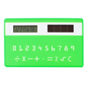 School Student Arabic Number Card Shape Solar Powered Pocket Calculator Green