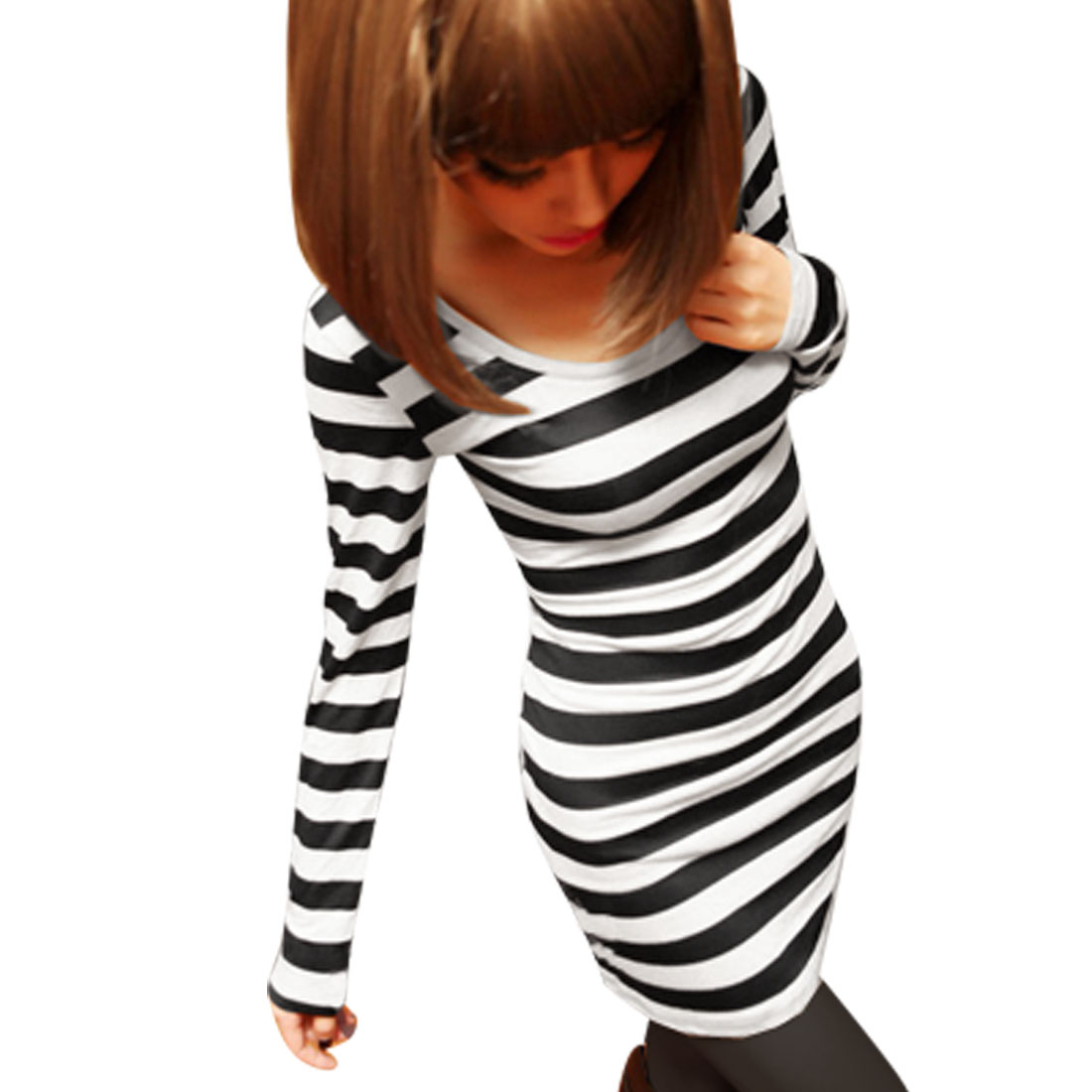 Ladies Black White Long Sleeve Horizontal Stripes Form-fitting Tunic Shirt M