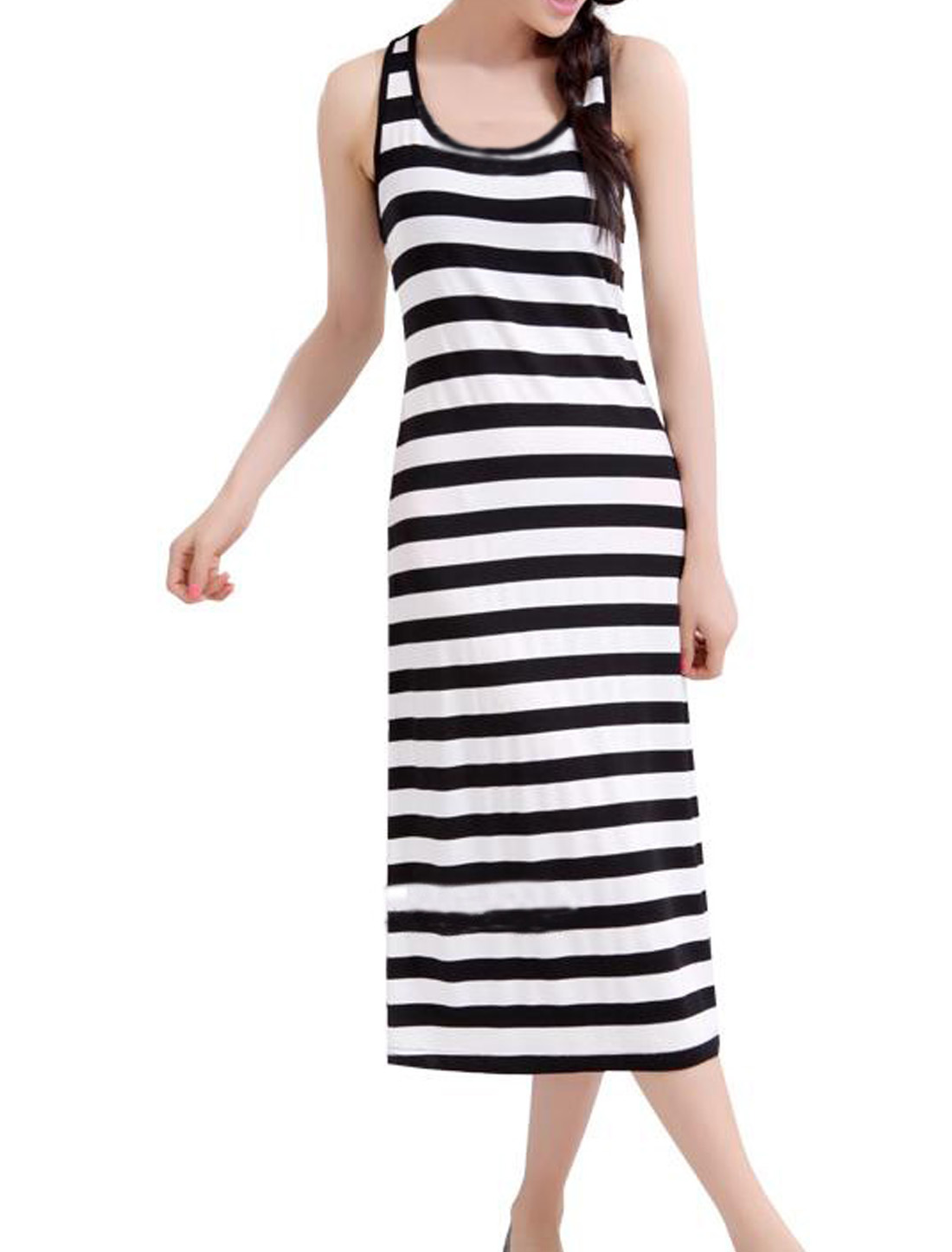Lady Black White Sleeveless Bar Striped Racer Back Maxi Dress L