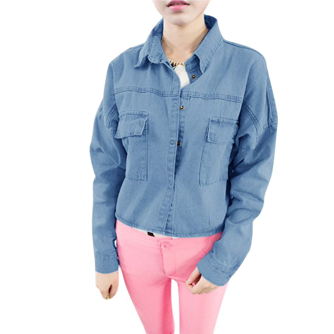 Lady Point Collar Batwing Long Sleeve Snap Button Light Demin Blue Jacket S