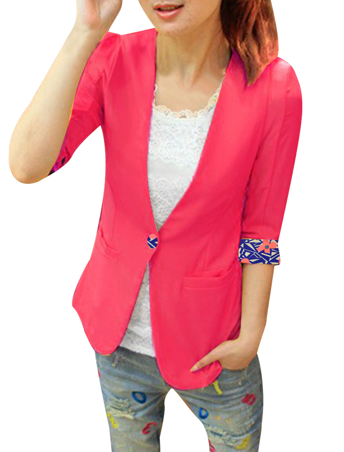 Ladies Fuchsia 3/4 Sleeves Slim Fitting Fashional Light Blazer XS