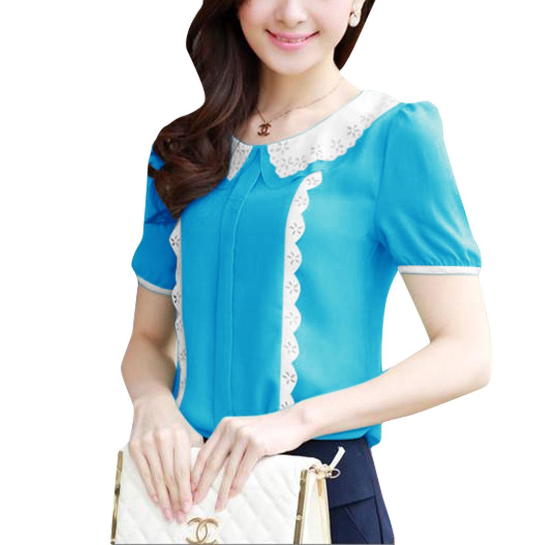 Woman Chic Double Peter Pan Collar Splice Sea Blue Chiffon Tops XS
