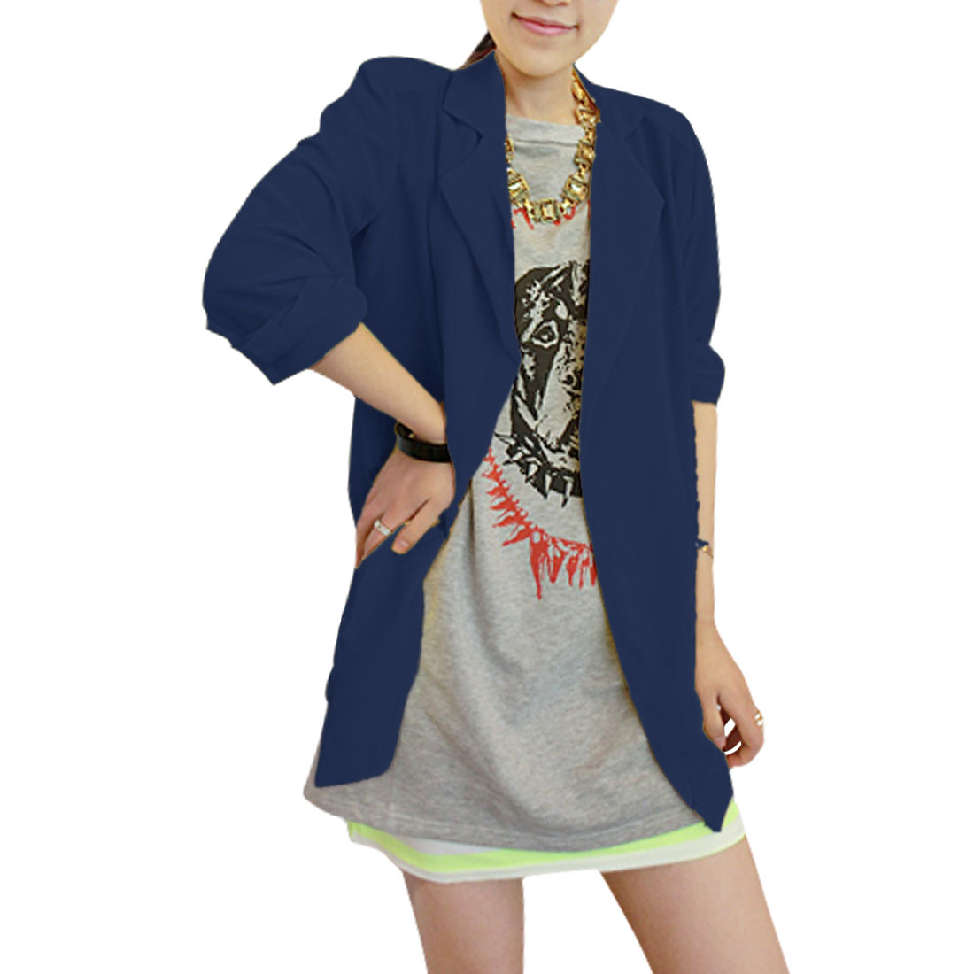 Ladies Peaked Lapel Open Front 3/4 Sleeve Semi Sheer Blazer Blue XS