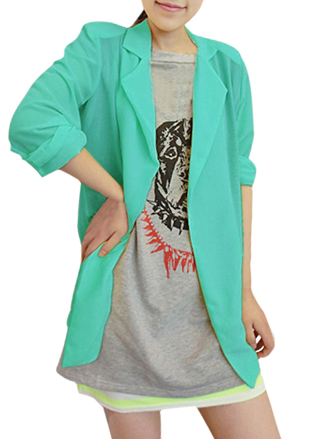 Ladies Peaked Lapel Open Front 3/4 Sleeve Semi Sheer Blazer Green XS