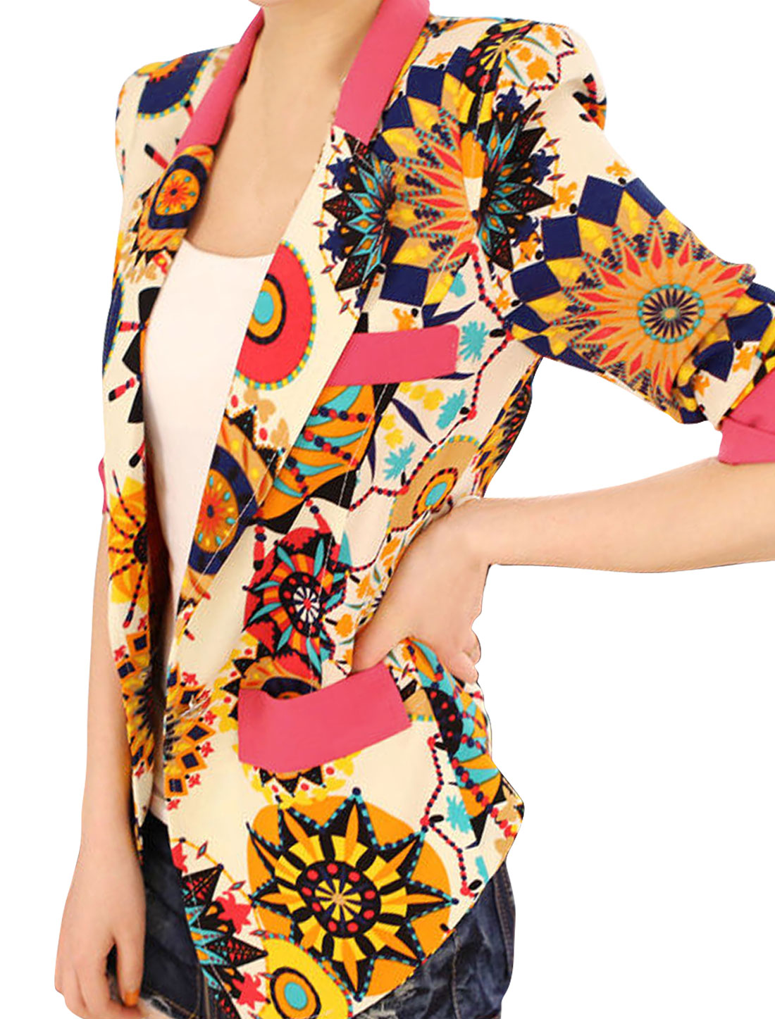 Ladies Multicolor Notched Lapel Novelty Prints Leisure Blazer XS