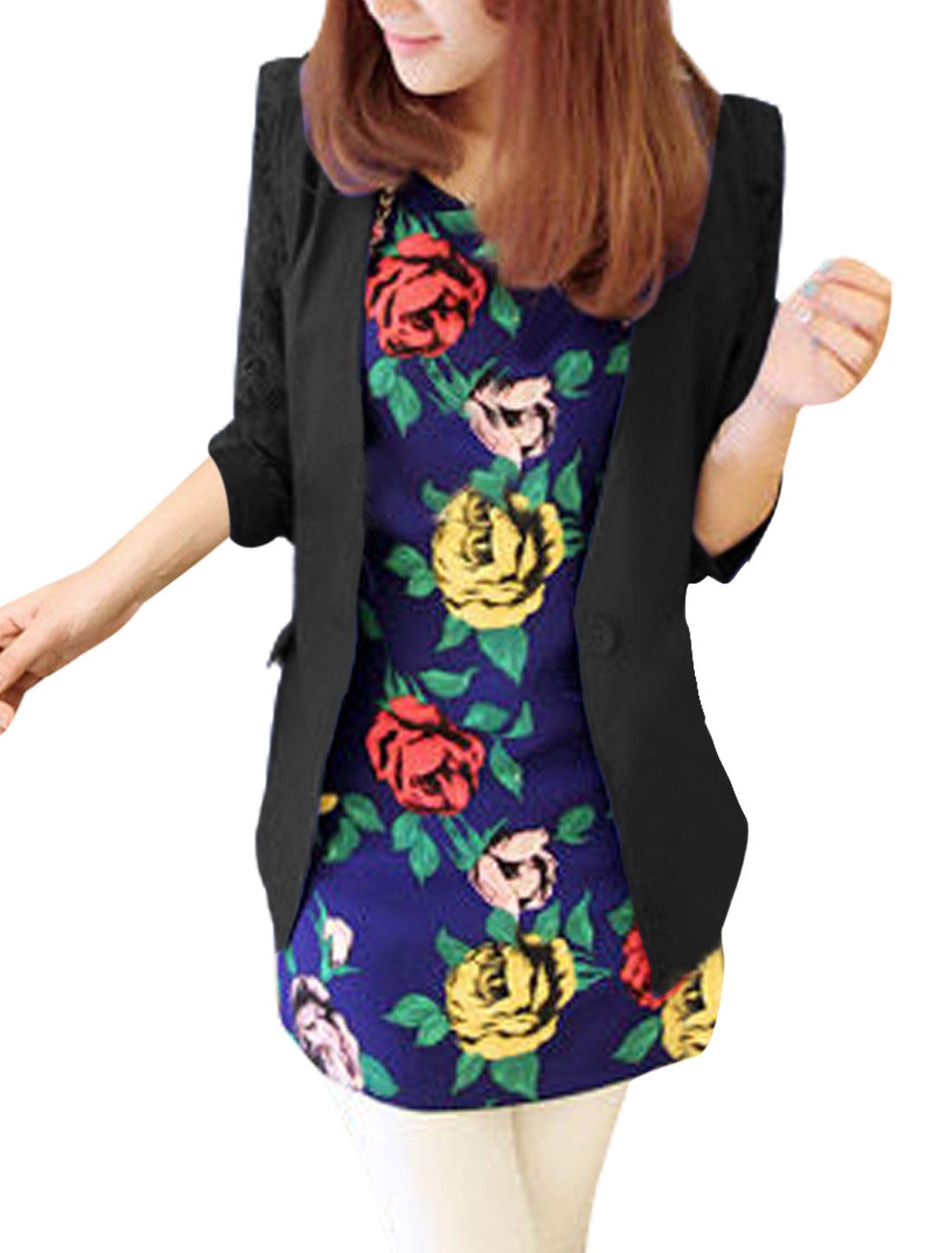 Ladies Button Closure 3/4 Sleeves Lace Panel Blazer Black XS