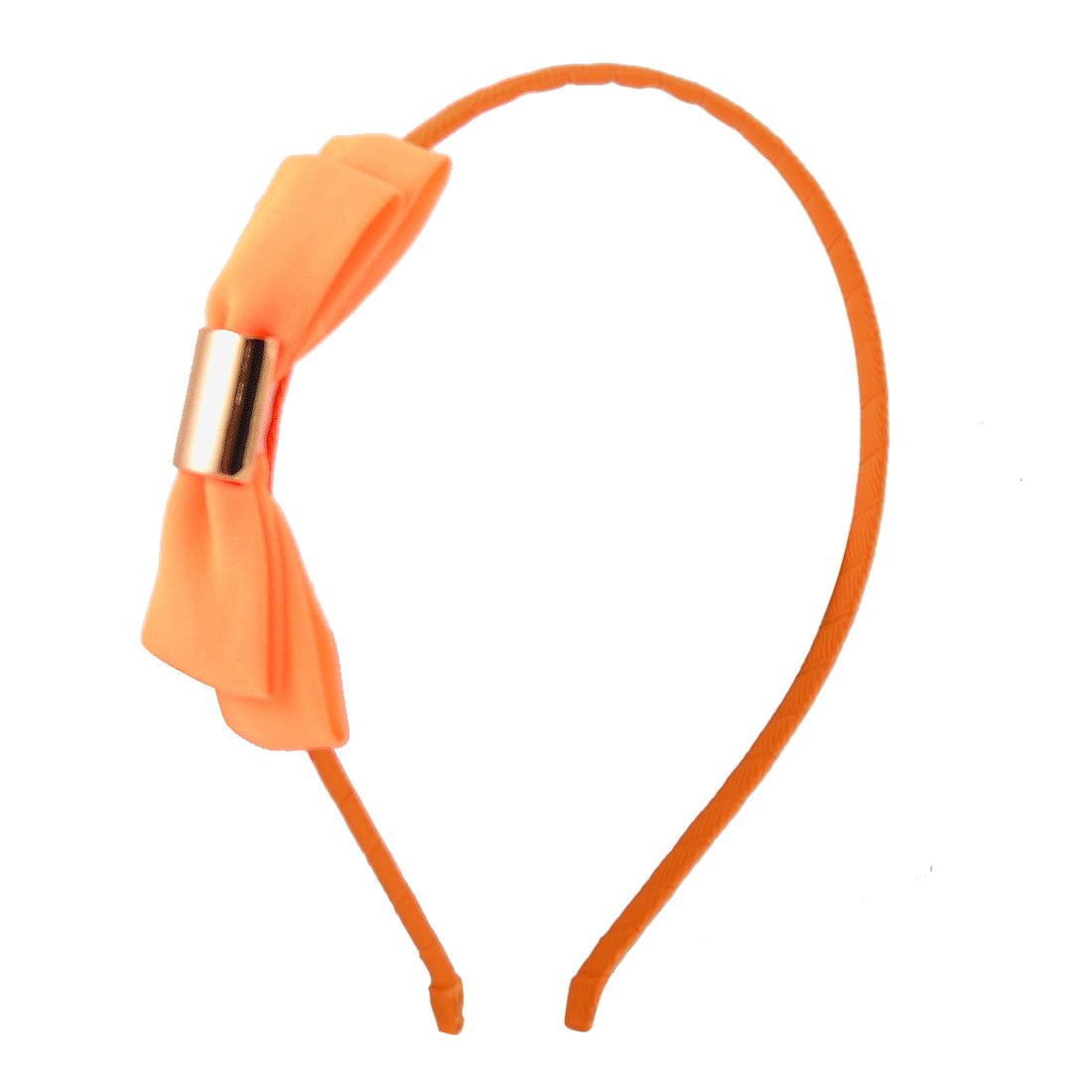 Orange Bowknot Detailing Polyester Coated Slim Head Band Hair Hoop for Girls