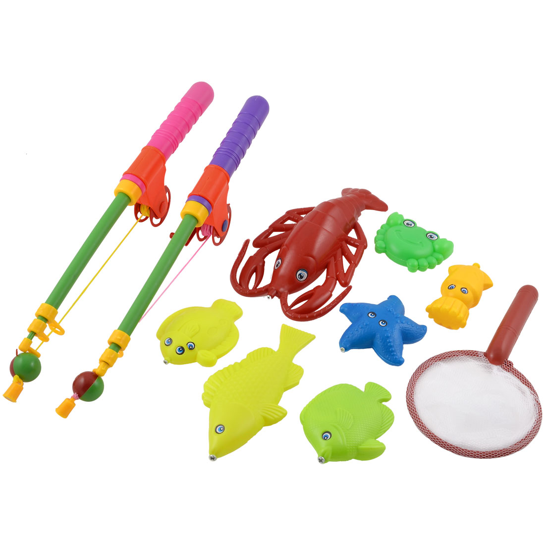 Children Colorful Plastic Magnetic Fish Starfish Crab Fishing Game Toy Set 10 in 1