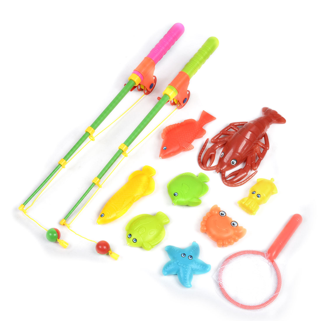 11 in 1 Plastic Telescopic Rods Magnetic Crab Octopus Starfish Fishing Toy Set for Kids