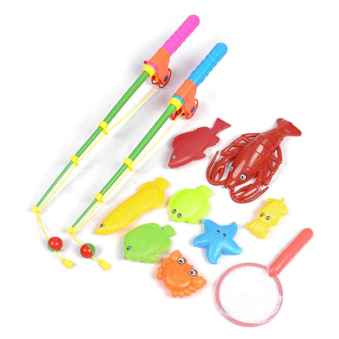 Child Plastic Landing Net Magnetic Fish Lobster Starfish Fishing Toy Set 11 in 1
