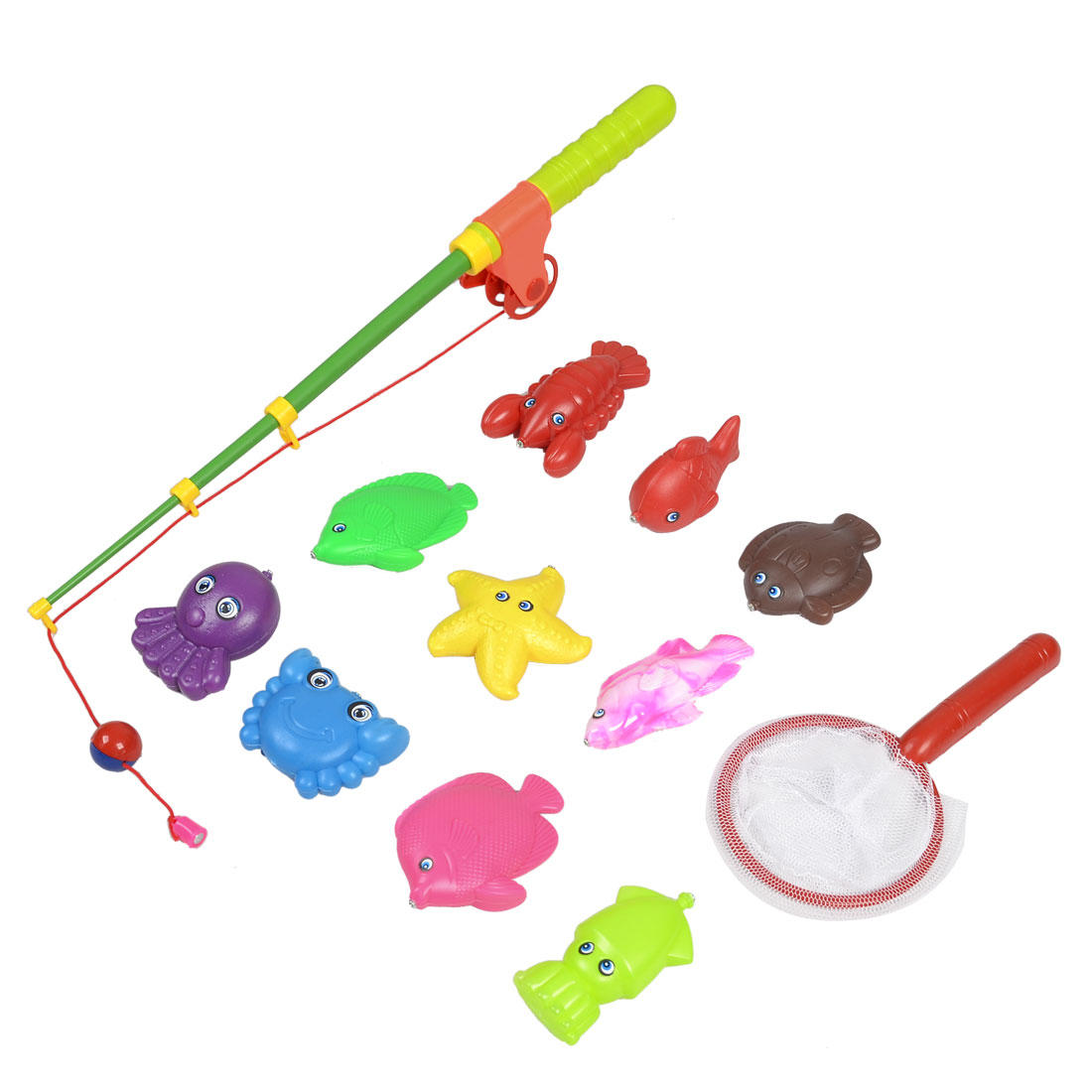 Child Plastic Retractable Rod Magnetic Lobster Starfish Octopus Fishing Toy Set 12 in 1