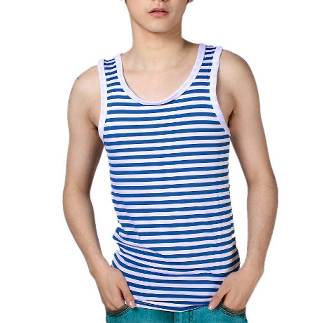 Men U Neck Pullover Sleeveless Stripes Summer Wearing Leisure Tank Top Blue White S