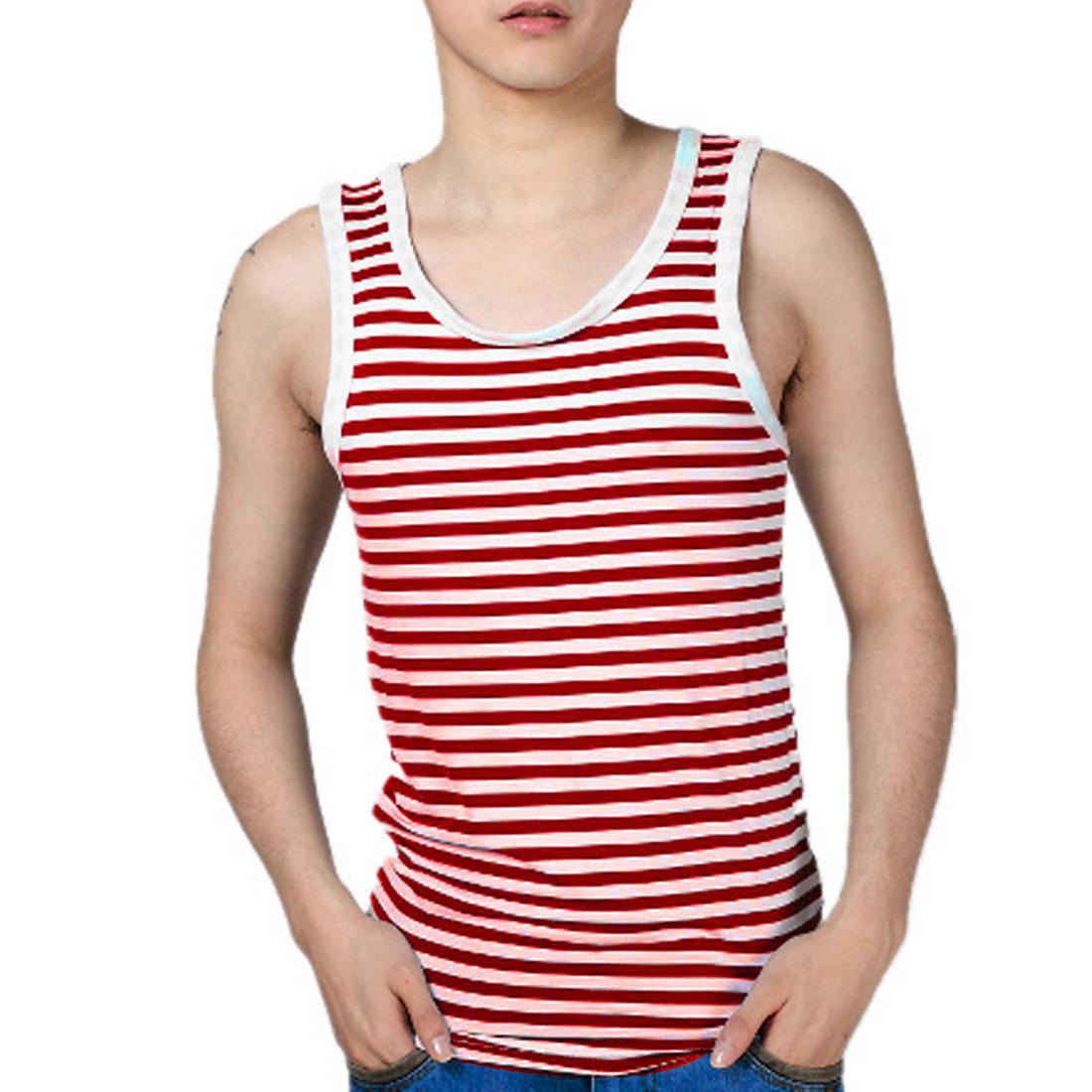 Men U Neck Pullover Sleeveless Stripes Stretchy Leisure Tank Top Burgundy White S