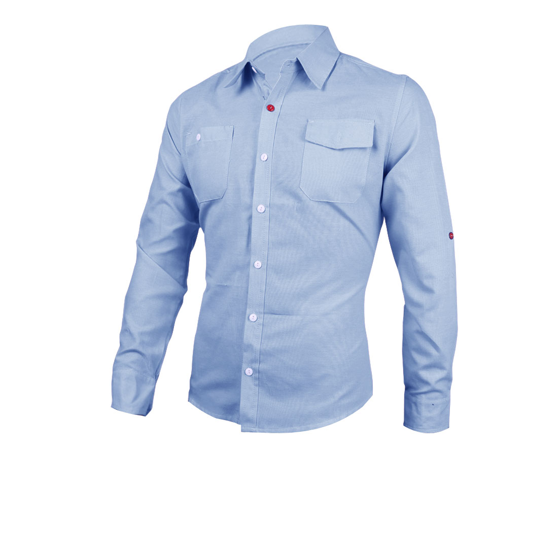 Men Point Collar Button Closure Long Sleeve Chest Pockets Solid Color Shirt Light Blue M