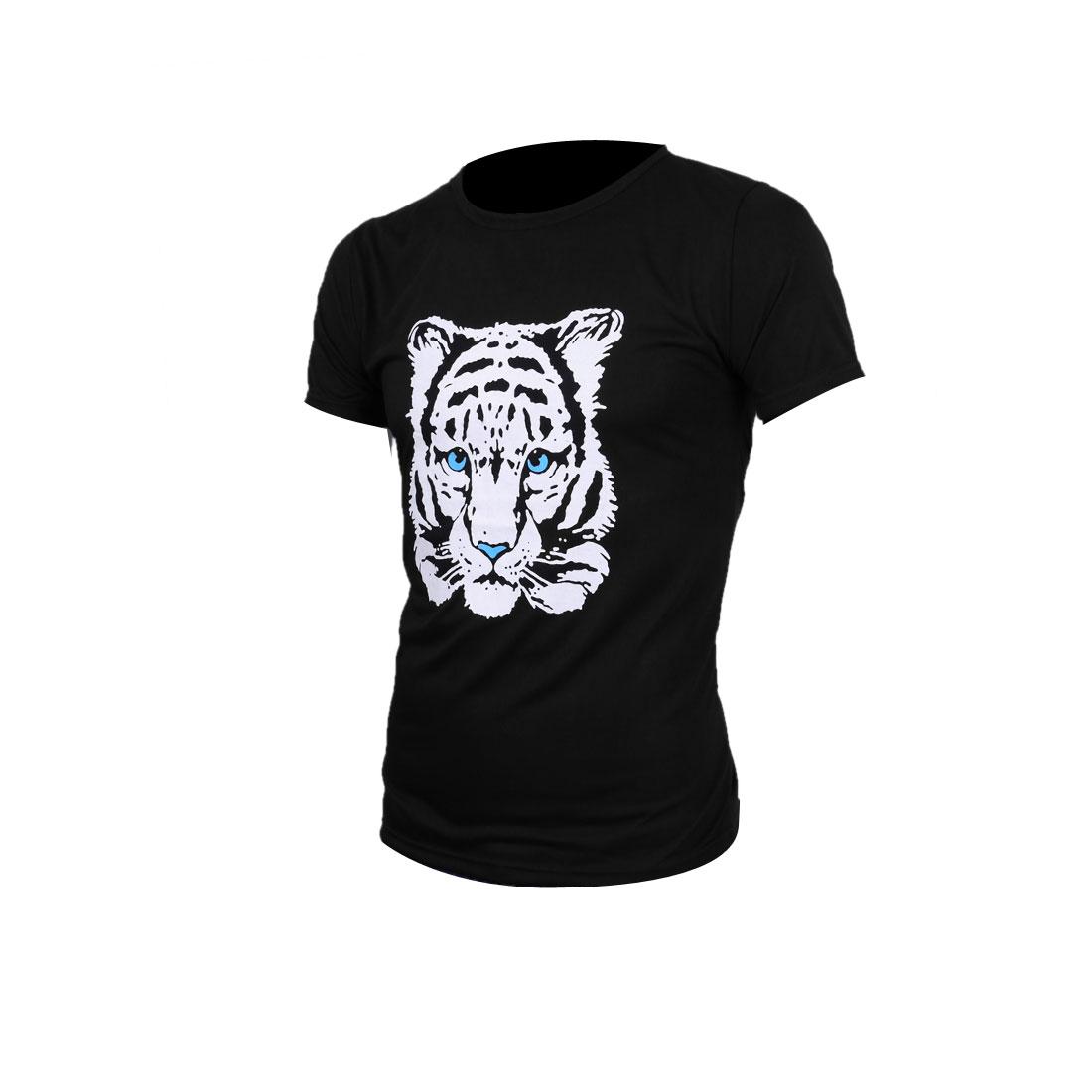 Men Short Sleeve Design White Tiger Black Tee Shirt S