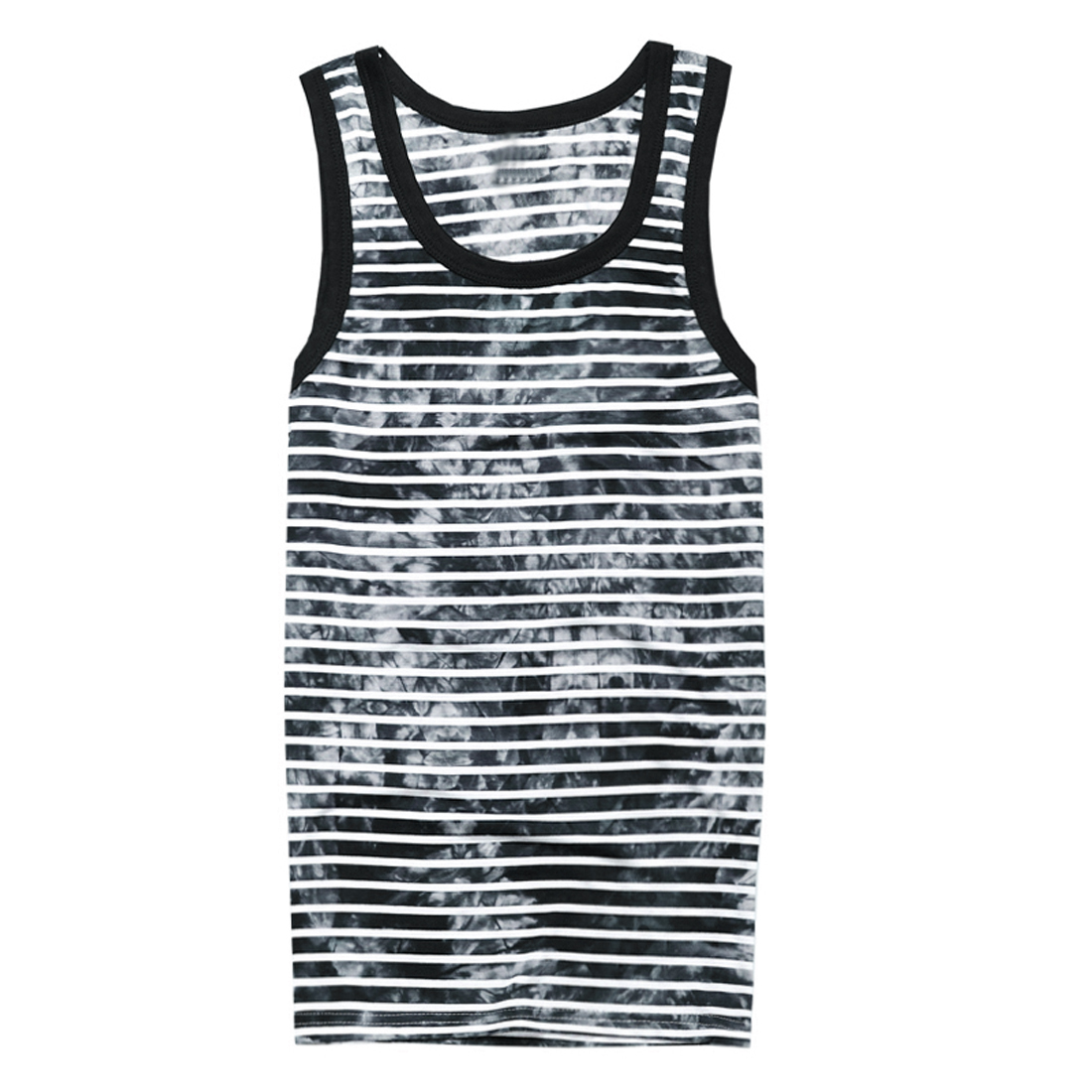 Men U Neck Pullover Sleeveless Stripes Floral Prints Summer Wearing Casual Tank Top Black White S