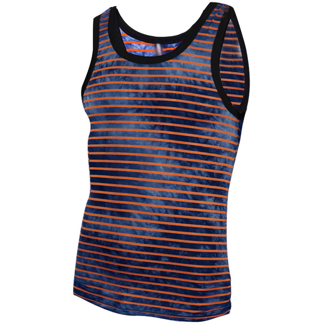 Men U Neck Sleeveless Stripes Summer Wearing Tank Top Brick Navy Blue S