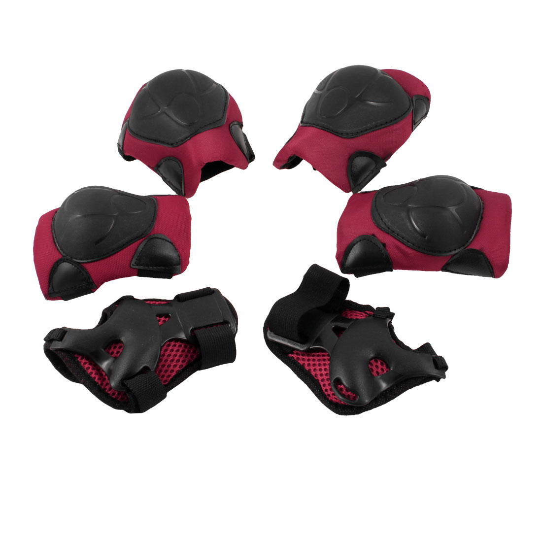 Children Kids Black Red Wrist Elbow Knee Pad Skate Sports Support 3 Pairs