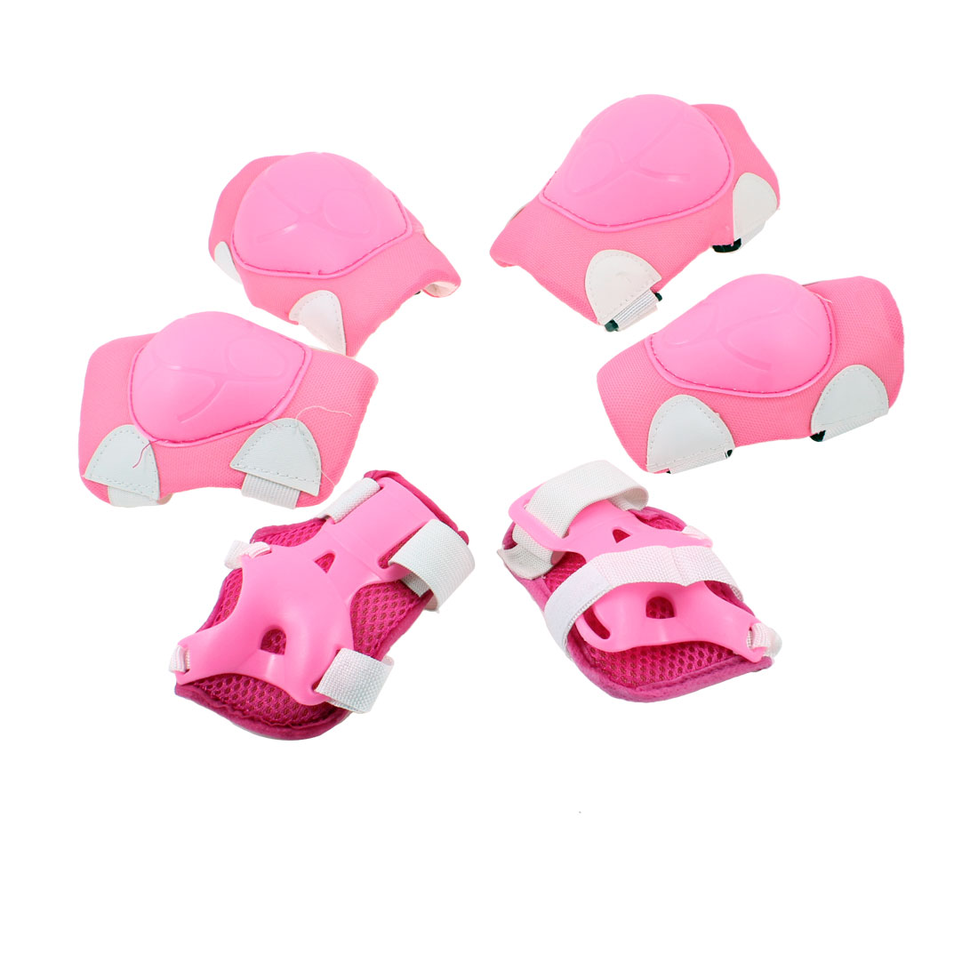 Children Pink White Detachable Fastener Elbow Knee Palm Protectors 3 Pairs