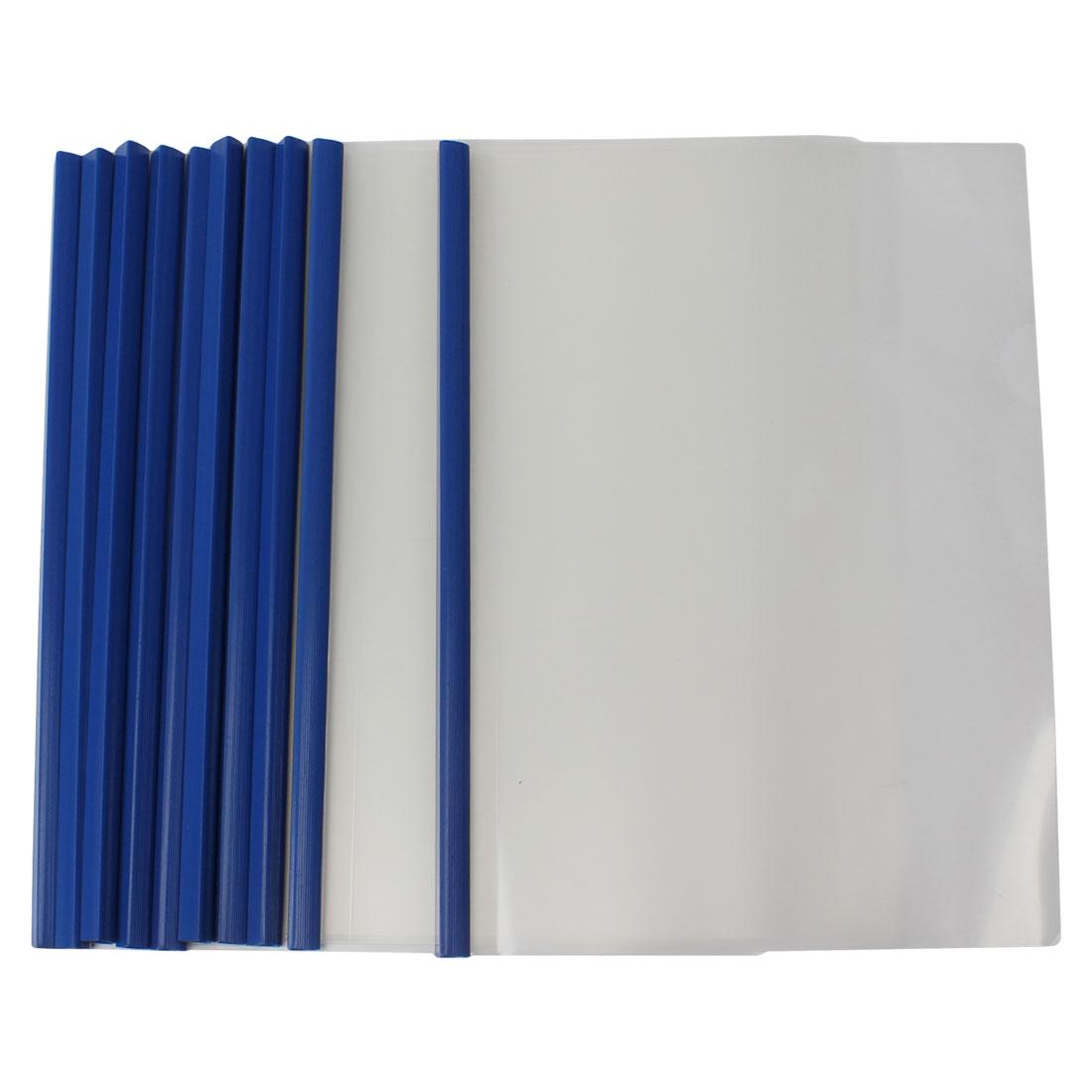 10 Pieces Plastic Clear Sliding Blue Bar File Folder for A4 Paper Report