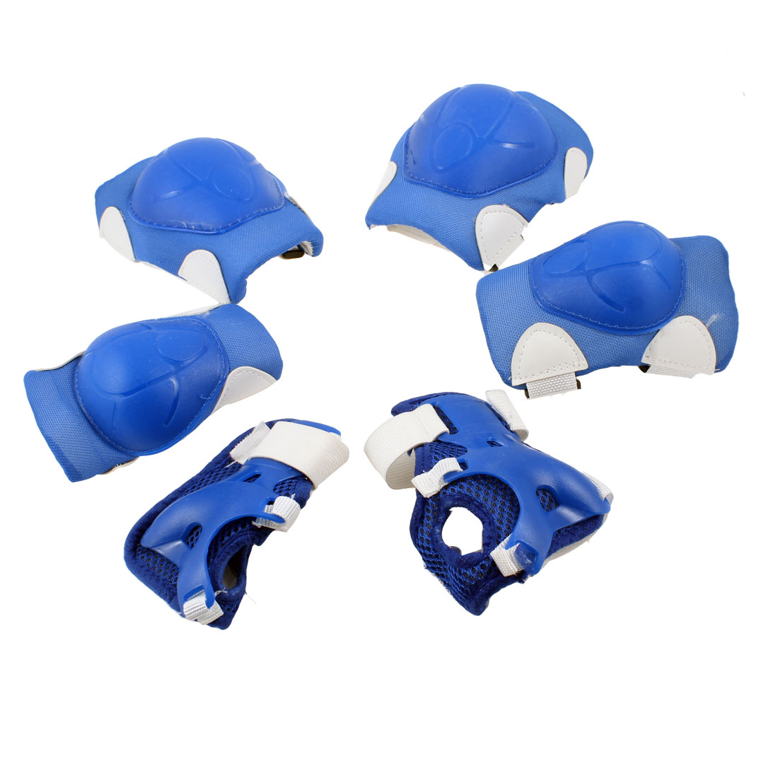 Children Kids Blue White Wrist Elbow Knee Pad Skate Sports Support 3 Pairs