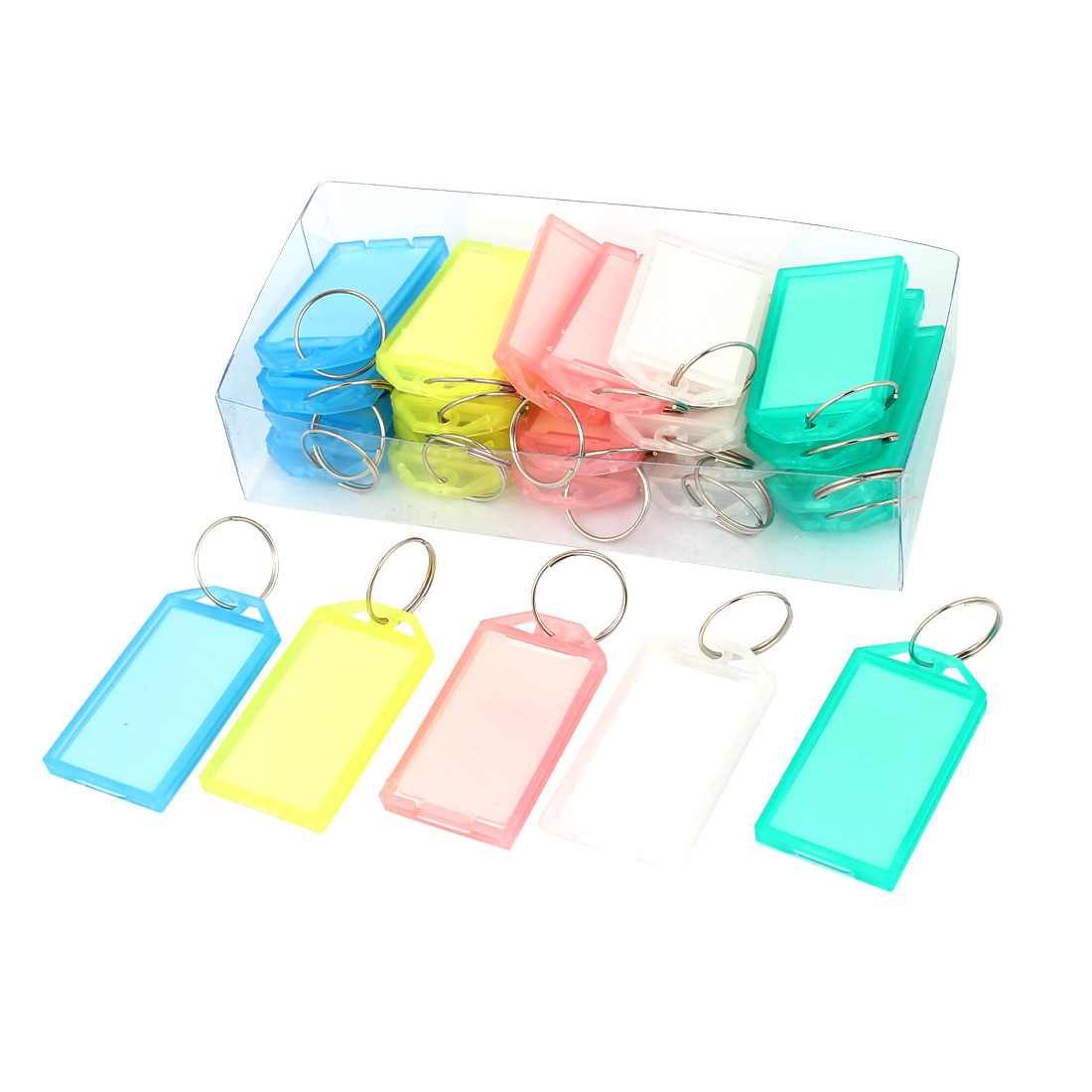 Waiter Salesman Colorful Plastic Name Tag Badge Clip Holder Keyring Key Ring 25 Pcs