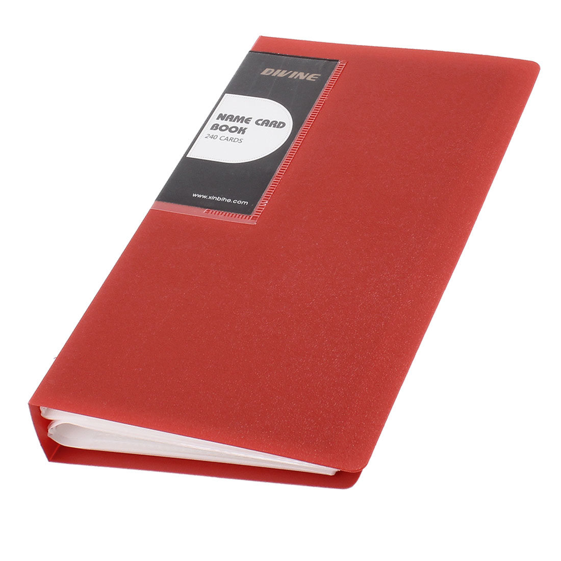 Notebook Shaped 240 Pcs Capacity Business Card Holder Red
