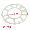 Car Vehicle 4 and 5 Lug 3mm Thickness Wheel Rims Spacers Silver Tone 2pcs